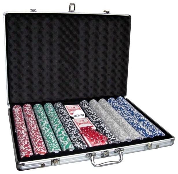 image of Βαλίτσα αλουμινίου 1000 μάρκες καζίνου 3 τράπουλες 6 ζάρια