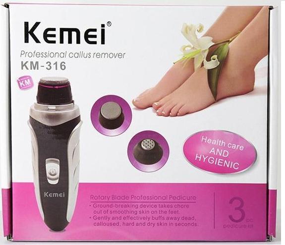 Ηλεκτρική επαναφορτιζόμενη μηχανή περιποίησης ποδιών 3 σε 1 Kemei KM-316