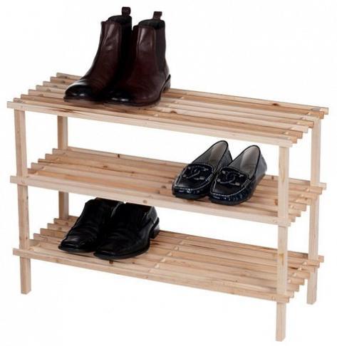 Ξύλινη Ραφιέρα Αποθήκευσης Παπουτσιών με 3 ράφια 70x26x48cm Homestyle