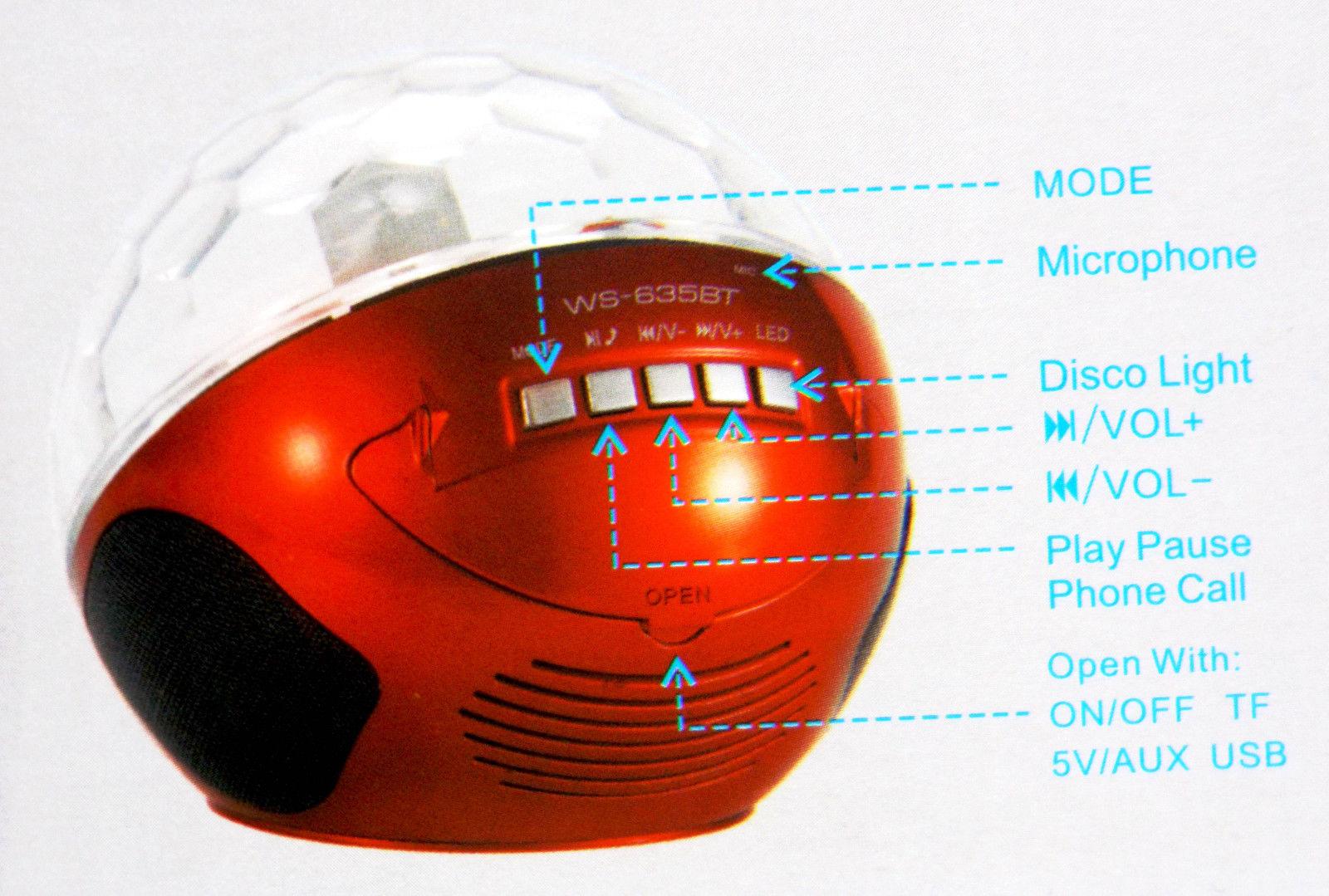 Λάμπα led επαναφορτιζόμενη έγχρωμη Bluetooth και Mp3 Player κόκκινη OEM WS-635BT