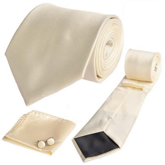 Σετ γραβάτα, μανικετόκουμπα και μαντήλι μονόχρωμο εκρού OEM 30140