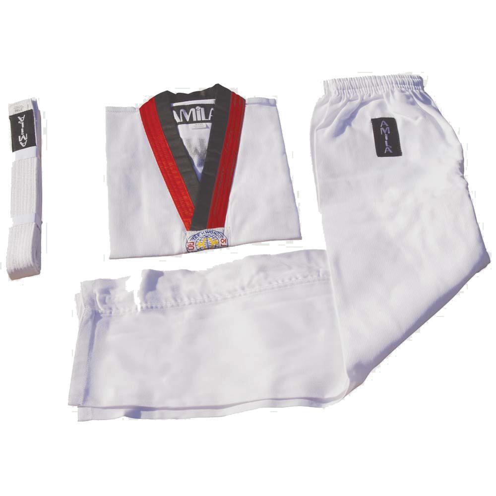 Στολή Taekwondo 8 Oz με κόκκινο V Ύψους 150 cm Amila 30318