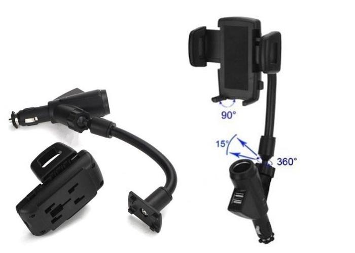 Βάση στήριξης κινητού με διπλό USB φορτιστή και αναπτήρα αυτοκινήτου OEM F-22