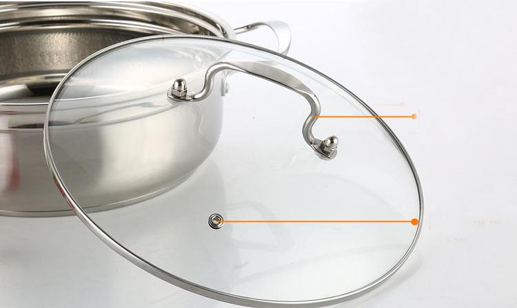 Κατσαρόλα με γυάλινο καπάκι 26 cm Stainless steel OEM Fenvo FHHG01