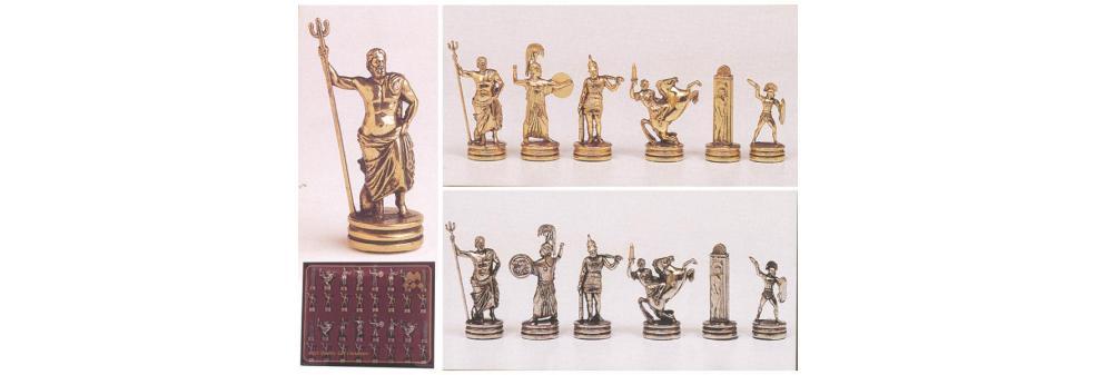 """Πιόνια για σκάκι MANOPOULOS """"ΕΛΛΗΝΙΚΗ ΜΥΘΟΛΟΓΙΑ"""" μεταλλικά χρυσό-ασημένιο 6.5cm"""
