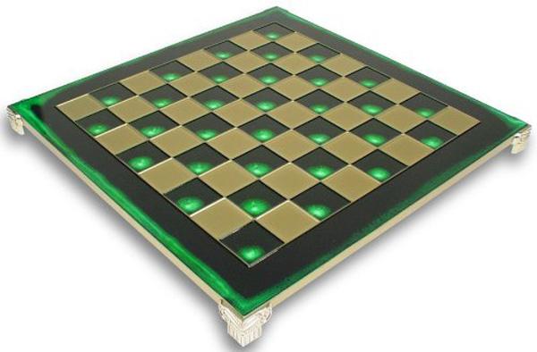 Σκακιέρα MANOPOULOS χάλκινη πρασινο σμάλτο 28x28cm