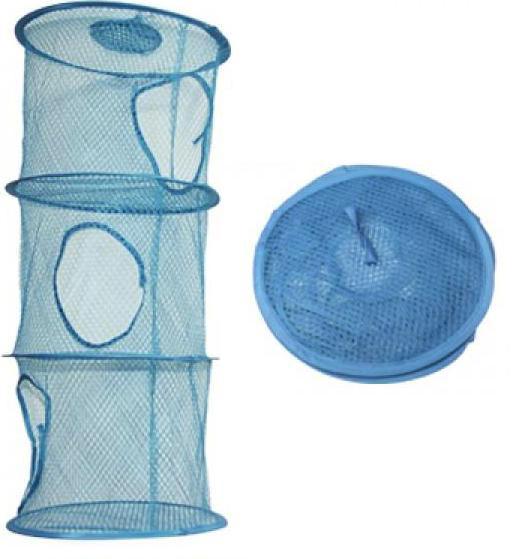 Υφασμάτινη Κρεμαστή θήκη αποθήκευσης γαλάζια 28 x 28 x 60cm τρία επίπεδα OEM COLLECTION BARREL