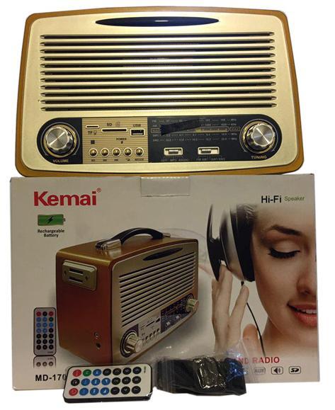 Φορητό Επαναφορτιζόμενο Ραδιόφωνο Retro USB/SD Mp3 Player Kemai MD1700U