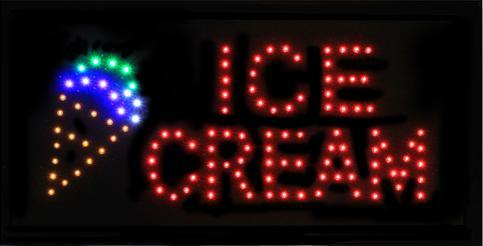 """Φωτιζόμενη πινακίδα με κίνηση """" ICE CREAM """" OEM"""