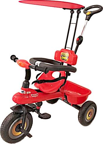 d70ed38e75b Παιδικό τρίκυκλο ποδήλατο Κόκκινο με μπάρα καθοδήγησης και τέντα 905S