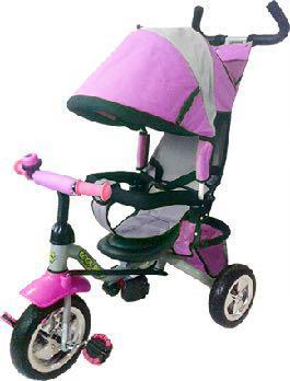 83c5d8a4dff Παιδικό τρίκυκλο ποδήλατο ροζ με μπάρα καθοδήγησης και τέντα 906-3EVA