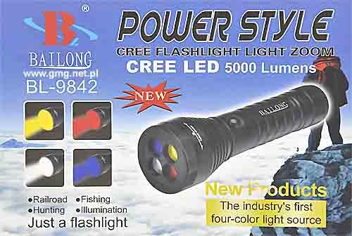 Επαναφορτιζόμενος πολύχρωμος φακός  led  Bailong BL-9842