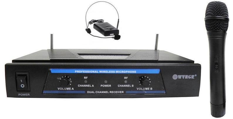 Επαγγελματική Συσκευή Karaoke VHF με Δύο Ασύρματα Μικρόφωνα DIGITAL WVNGR WG-007