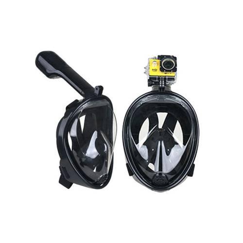 Sub Full Face Snorkel Mask Xifias 857B BLACK Ολοπρόσωπη Μάσκα με Αναπνευστήρα και Βάση για Action Camera