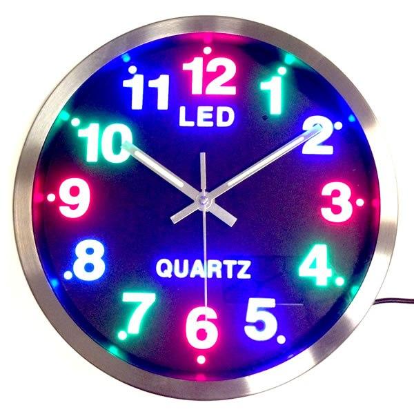 Μεγάλο ρολόι τοίχου 30,50cm με πολύχρωμο led καντράν