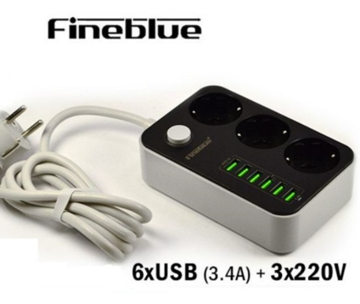 Πολύπριζο ασφαλείας 3 θέσεων με 6 θύρες USB 3.4A FINEBLUE FI900