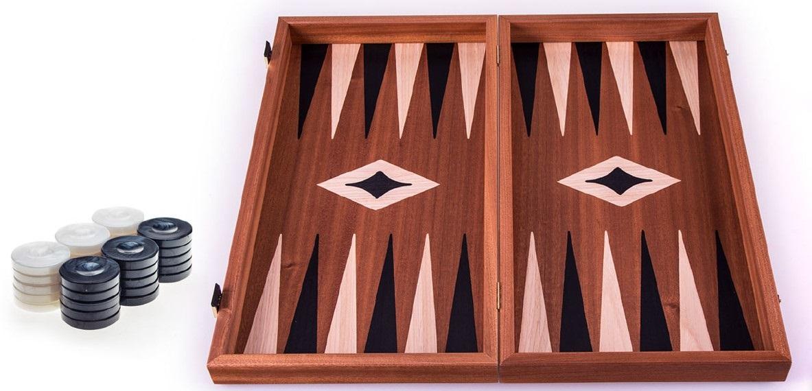 Χειροποίητο τάβλι 38x40cm δρυς & μαόνι 3 σε 1 μαύρο MANOPOULOS TS2MBLA