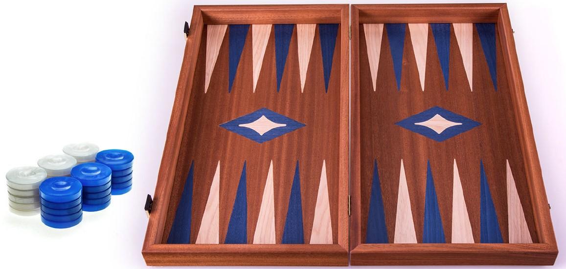 Χειροποίητο τάβλι 38x40cm δρυς & μαόνι 3 σε 1 μπλε MANOPOULOS TS2MBLU