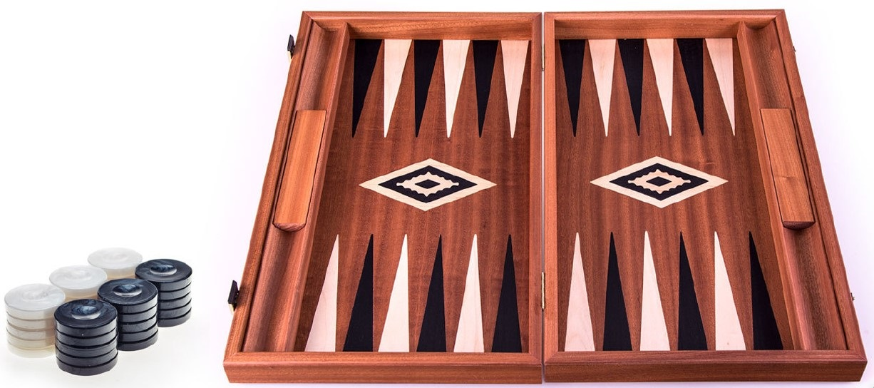 Χειροποίητο τάβλι 48x60cm μαόνι βελανιδιά & μάυρο σφένδαμο με θήκες για πούλια MANOPOULOS BΜΜ1