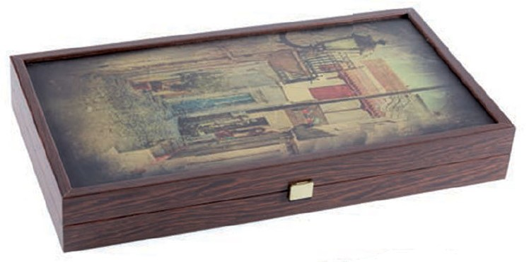Χειροποίητο τάβλι 38x40cm laminate wenge σοκάκι MANOPOULOS TXL2GF