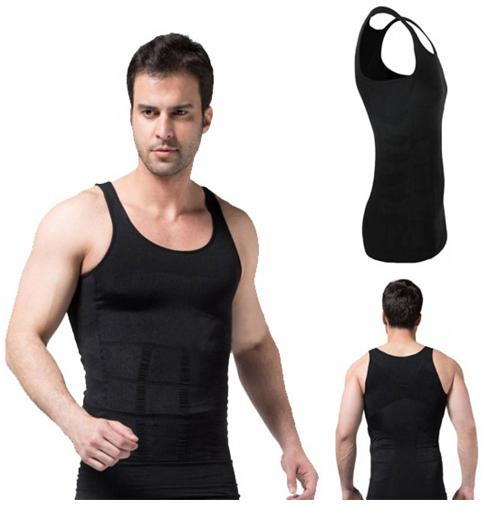Ανδρική Φανέλα Σύσφιξης Και Αδυνατίσματος Μαύρη Lastex - Slim N Lift Shirt