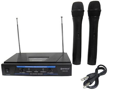 Επαγγελματική Συσκευή Karaoke VHF με Δύο Ασύρματα Μικρόφωνα DIGITAL WVNGR WG-006