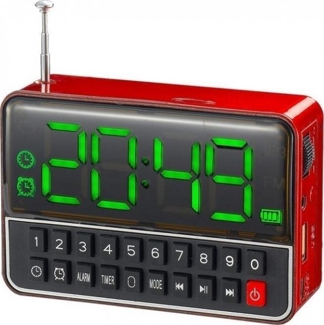 Επαναφορτιζόμενο Ψηφιακό Ράδιο Ρολόι Ξυπνητήρι USB MP3 Player WS-1513