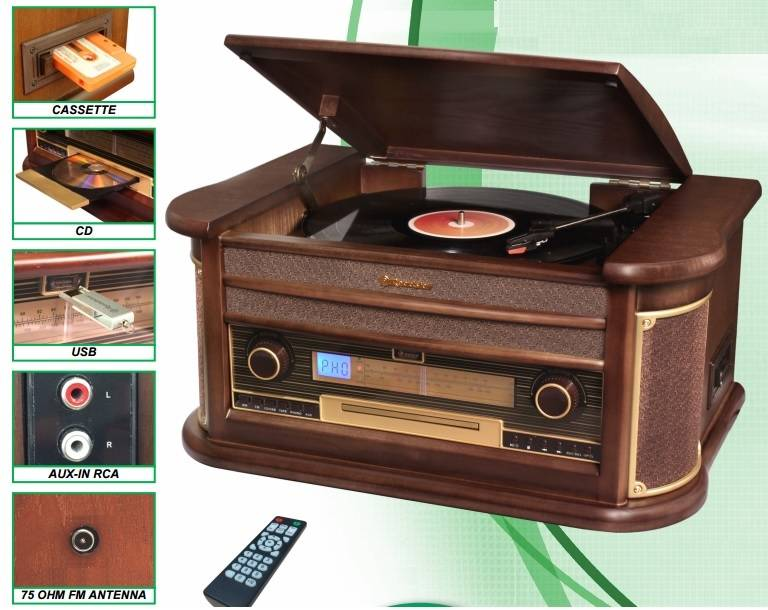Πικάπ vintage με Ράδιο-CD-USB-CASSETTE Roadstar HIF 1896 TUMPK