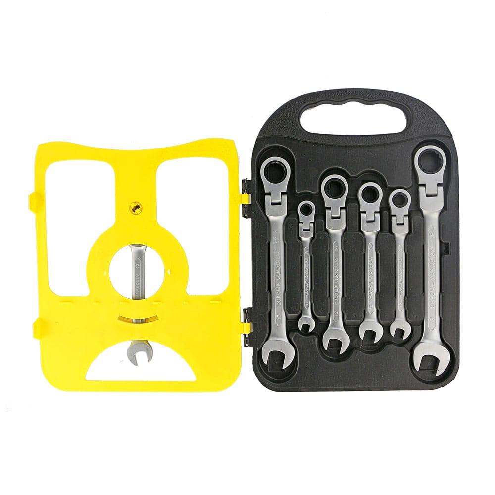Σετ 7 Επαγγελματικά Κλειδιά Γερμανοπολύγωνα Χρωμίου Βαναδίου με Καστάνια & Σπαστή Κεφαλή 8-19mm combination ratchet wrench set