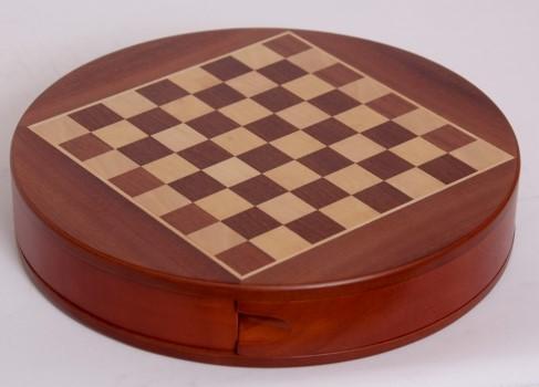 Σκάκι ξυλινο στρογγυλό με 2 συρτάρια και μαγνητικά ξύλινα πιόνια MODIANO