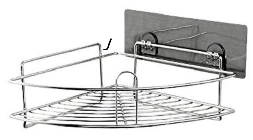 Μεταλλικό Ανοξείδωτο αυτοκόλλητο γωνιακό ράφι μπάνιου