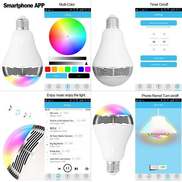 Πολύχρωμη Λάμπα LED με Bluetooth 6W & Ηχείο 3W E27 για Android & iOS LD6