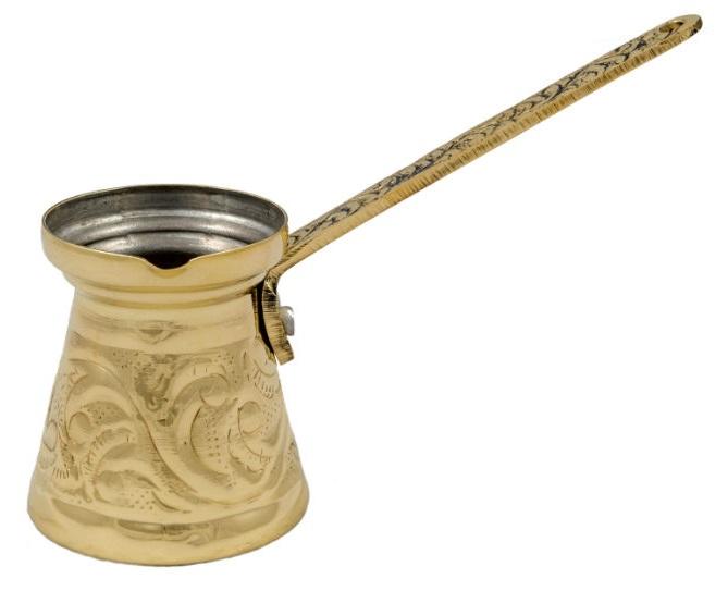 Μπρίκι μπρούτζινο σκαλιστό γανωμένο με χαμηλό λαιμό, τύπου Ελίτ N1