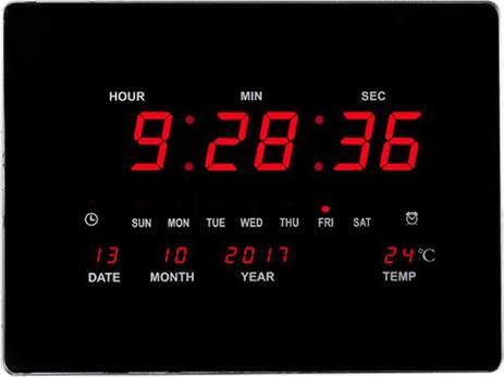Ρολόι LED με ένδειξη Ημέρας, Ημερομηνίας, Ώρας & Θερμοκρασίας 40,6x30,5cm OEM LED Number Clock 2939Α