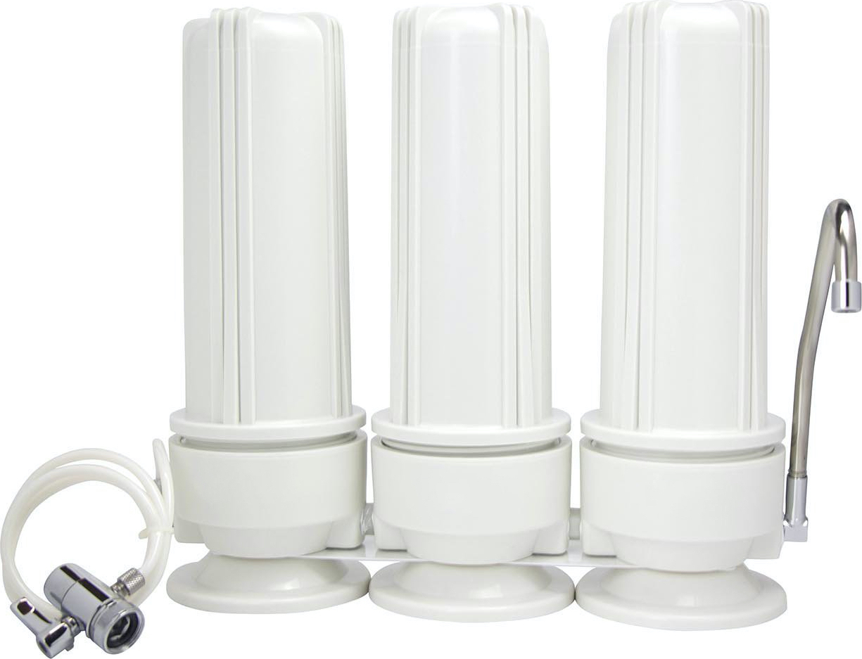 Φίλτρο νερού Πάγκου τριών (3) σταδίων Τριπλό Λευκό Eiger Countertop