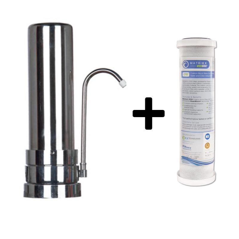 Φίλτρο νερού άνω πάγκου Χρωμέ με Ανταλλακτικό Φίλτρο Matrikx CTO 5 μm Eiger Countertop