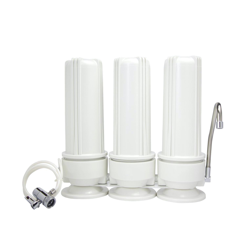 Φίλτρο νερού Πάγκου τριών (3) σταδίων Τριπλό Λευκό με Ανταλλακτικό Φίλτρο Eiger PP 5μm, Eiger GAC 5μm,Eiger CTO 5μm Eiger Countertop