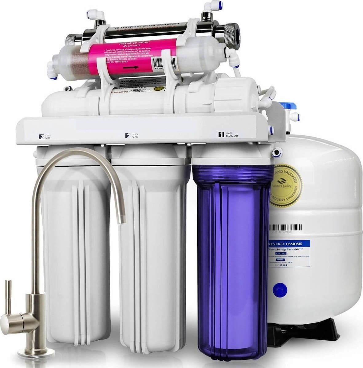 Σύστημα καθαρισμού νερού 7 σταδίων Αντίστροφης Όσμωσης με Αντλία και λάμπα UV Eiger RO ECO 7