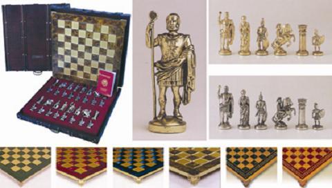 Μεταλικό σετ σκακιού σε ξύλινη κασετίνα 44χ44 cm