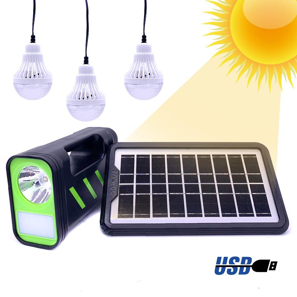 Ηλιακό Σύστημα Φωτισμού & Φόρτισης με Πάνελ 3,5W, Μπαταρία, Φακό 200LM & Φωτιστικό 150LM + 3 Λάμπες LED 90 Lumens DG-12