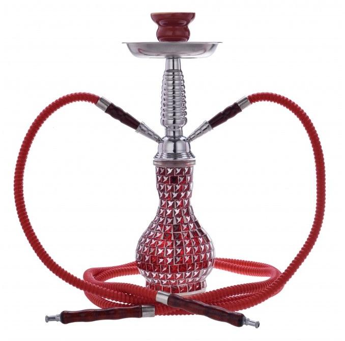 Ναργιλές Διπλός Κόκκινος με κρύσταλλα 38cm CHAPM AL MALIK Khouribga Cristal