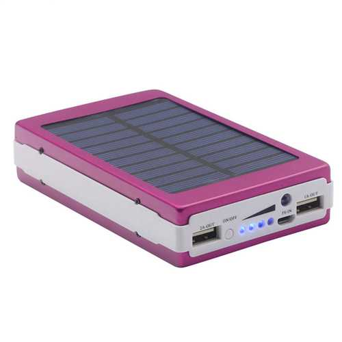 Power bank με ηλιακό φορτιστή και φακός 20 Led Solar 20000mAh μοβ Eboot ES20000