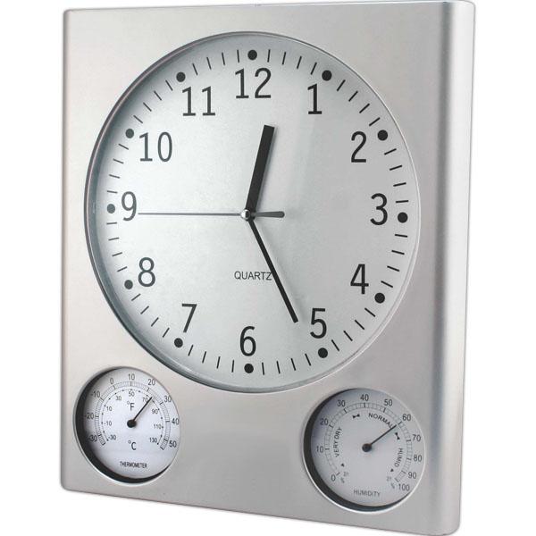 Ρολόι Τοίχου 30cm Με Θερμόμετρο Και Υγρόμετρο