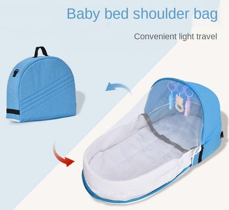 Φορητό αναδιπλούμενο κρεβατάκι μωρού με κουνουπιέρα 80x40x46cm Baby Portable Bed Shoulder Bag