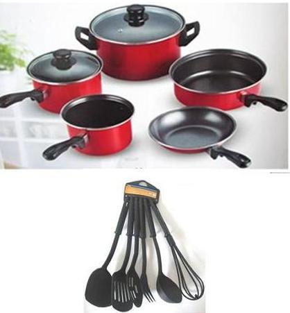 Σετ Κατσαρόλες Εμαγιέ Αντικολλητικές & Εργαλεία κουζίνας 13τμχ