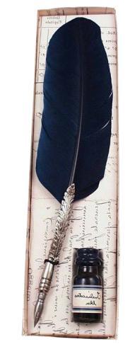 Πένα φτερό χειροποίητη σκαλιστή & μελάνι FRANCESCO RUBINATO 7027