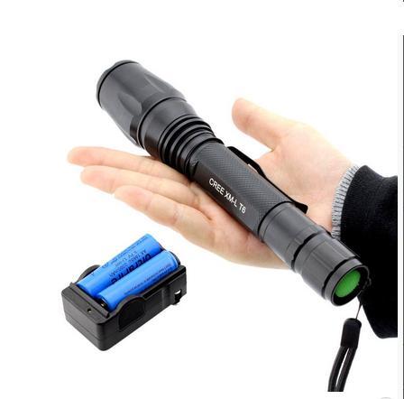 Επαναφορτιζόμενος φακός με zoom LED CREE T6 - 8000 Watt με 2 μπαταρίες 18650 / 4.200 mah Wins Fire