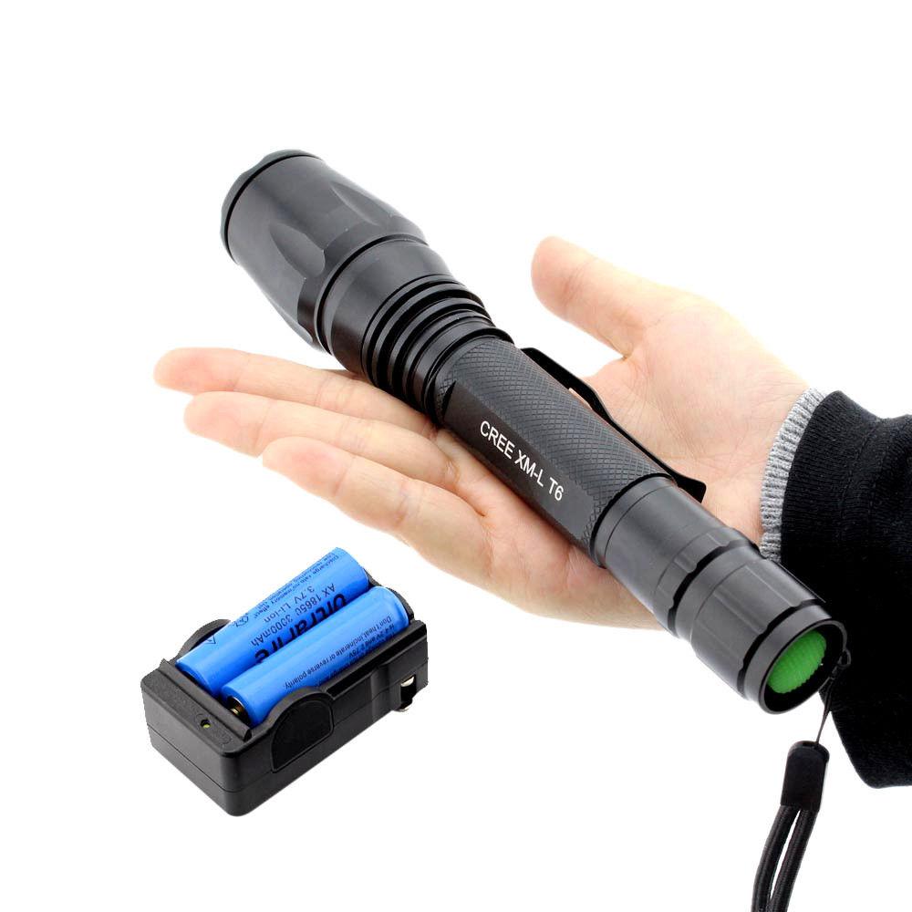 Εξαιρετικά δυνατός Φακός LED CREE T6 - 8000 Watt με 2 μπαταρίες 18650 / 4.200 mah Wins Fire