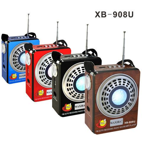 Φορητό επαναφορτιζόμενο FM RADIO TF / SD / USB MP3 PLAYER με ηχείο 3w WAXIBA XB-908U