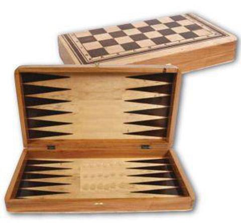 Τάβλι σκάκι ξύλινο 37x37 cm με πούλια και πιόνια